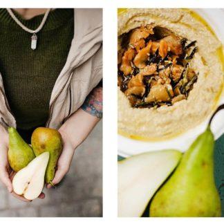 Hummus z karmelizowana gruszka na masle z.rozmarynem